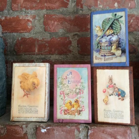 "Primitive Vintage Style Easter Wood Sign /""Easter Greating/"" Chicks Decoration"