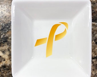 GOLD RIBBON Childhood Cancer Awareness  -  Ring Dish || Jewelry Holder || Trinket Dish || Cancer Awareness || Fight Cancer || Fundraiser