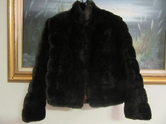 FUZZY KITTEN vintage 70s brown faux fur mini jacke
