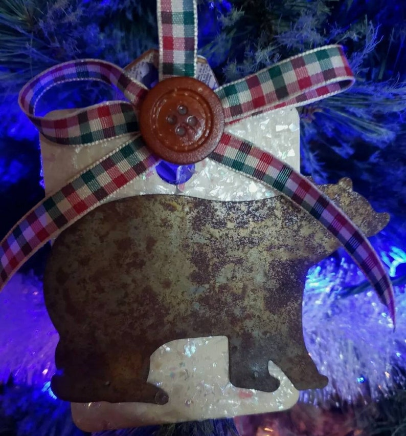 Hand-Crafted Christmas Rustic Ornament Rusted Metal Bear Plaid Bow One Of  Kind