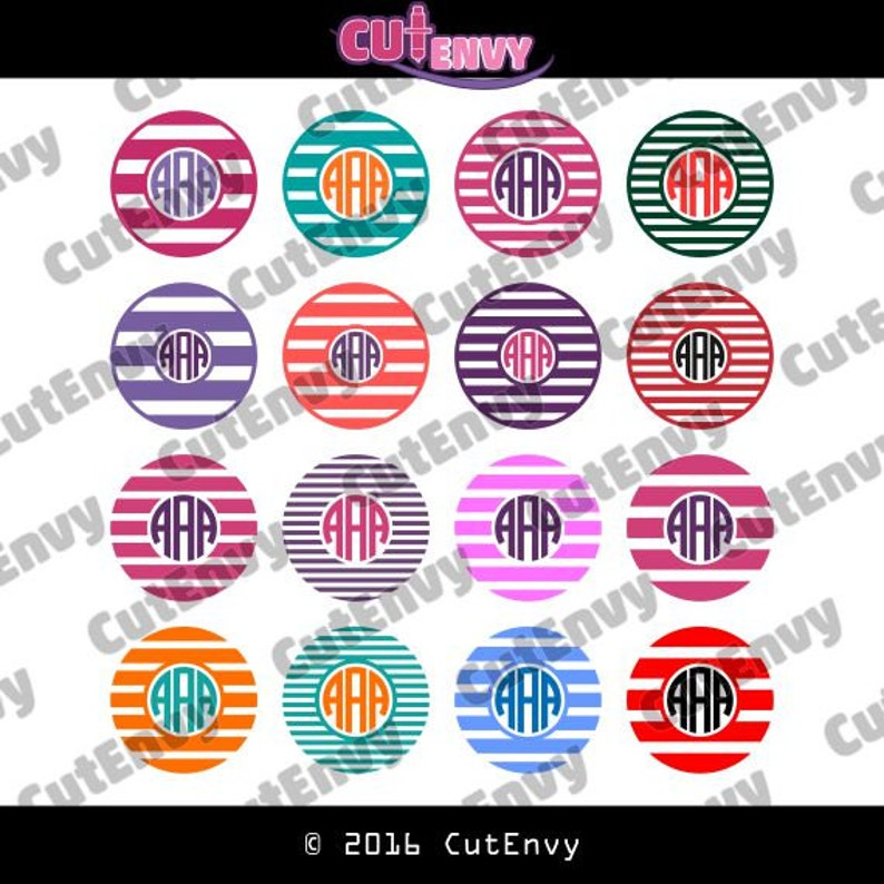 Circle Stripe Monogram SVG Cut Files  Monogram Frames EPS DXF image 0