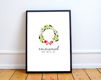 Christmas Emmanuel Print | God Is With Us Quote Art