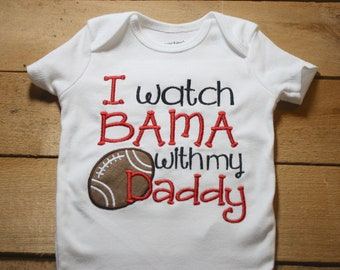 82aaab2c9 Bama Baby Bodysuit Roll Tide Alabama I Watch With my Daddy Football  Elephant Crimson Home Outfit Sorry Spitting Thought I saw a Tiger Active
