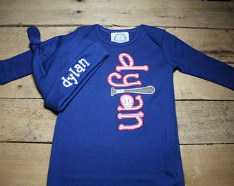 7034f797501 Personalized Baby Gown Hat Baseball Set Monogrammed Customized Applique  Embroidered Baby Shower Coming Home Outfit Boy
