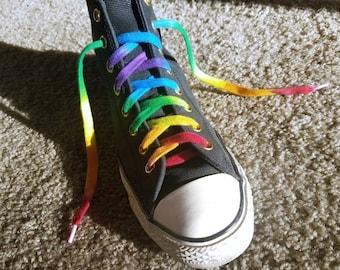 """Vintage 1980s /'Lectric Laces Fluorescent Shoe Laces 45/"""" Multi-Color Rainbow"""