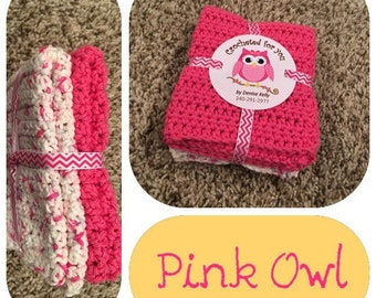 Crocheted  Dishcloths-Pink Owl