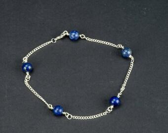 Blue Lapis Lazuli Anklet Blue Lapis Anklet Cross Anklet Sterling Silver Anklet Blue Lapis Ankle Bracelet Womens Anklet BuyAny3+Get1 Free