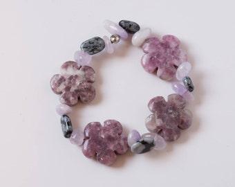 Hippie Bracelet, Boho Bracelet, Flower Bracelet, Strawberry Quartz, Flower Beads, Energy Bracelet, Hippie Jewelry, Boho Jewelry, Hippie