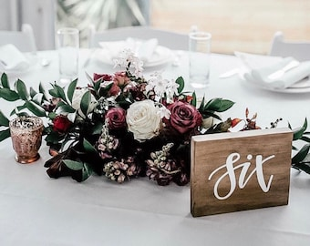 WOODEN Table Numbers | Custom Freestanding Wedding Table Number Signs | Rustic Boho Table Decor | Wedding Engagement Signage