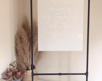 Black Metal Frame Hire Easel Hire Wedding Sign Wedding Seating Plan Acrylic Perspex Sign Willow And Ink Modern Wedding
