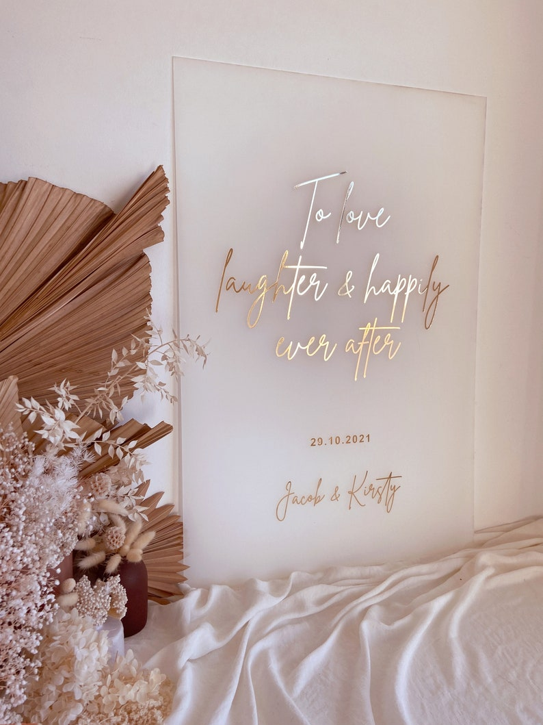 WEDDING Engagement Welcome Acrylic Perspex Love Quote Sign  image 0