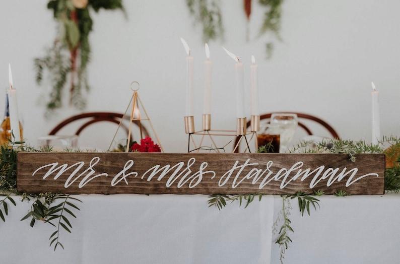 BRIDAL Table Wedding Wooden Sign Mr and Mrs Wedding Newlyweds image 0
