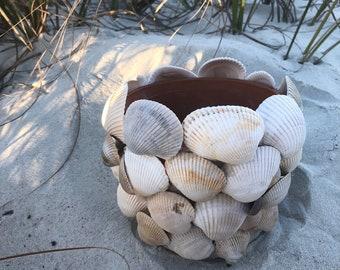 "Seashell planter pot - plant beach decor - scallop shell pot - Terra Cotta Clay - Coastal - Bohemian - wedding - 5"" Small -"