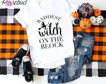 d8f79850 Baddest Witch On The Block Shirt, Halloween Shirts, Womens Halloween Shirt, Halloween  Shirt Women, Halloween Shirts For Womens, Womens Shirt