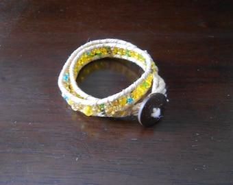Glass, Pyrite and Cotton Ladder Bracelet