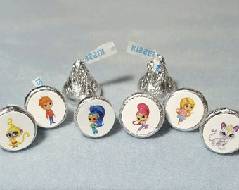 Shimmer and Shine, Cartoon, Hershey Kiss Stickers, Envelope Seals, Birthday Party, Genie, Goody Bag, Labels, Favors, 120 Stickers