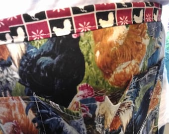 Adult Egg Apron One Size  - Farm Collecting Harvesting Multi Purpose Apron in Rooster Print with Coordinating Chicken Print Back