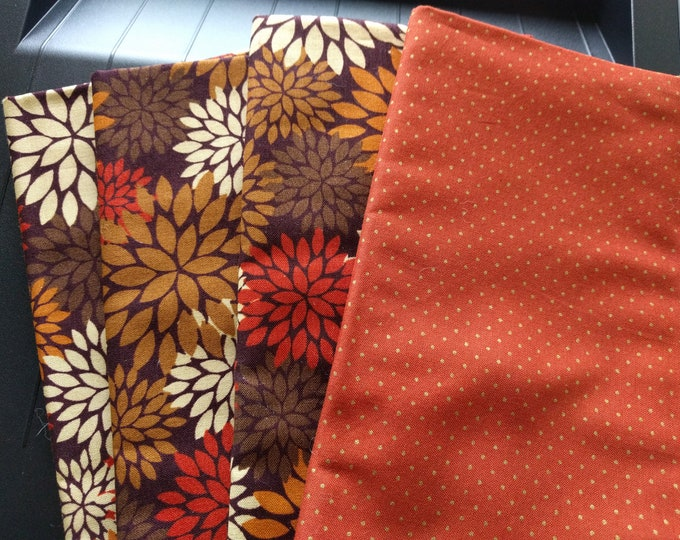 Fall Dinner Napkin Set of 4 - Cloth Washable Reversible Double Sided - Starburst Floral Print in Autumn Hues Backed with Tiny Polka Dots