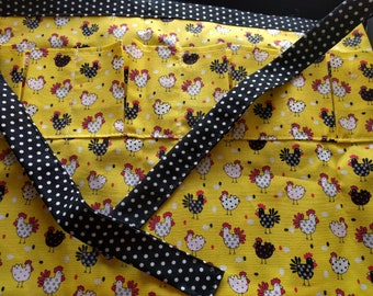 Egg Collecting Apron One Size Kids - Collecting Multi Purpose Egg Harvest Farm Apron in Black/White Chicken Print on Yellow Fabric