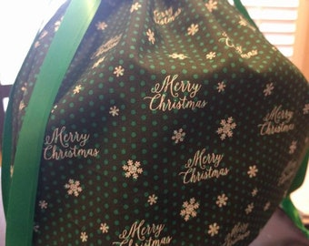 Drawstring Gift Cinch Cloth Reusable Bag Reindeer - Green Merry Christmas with Mini Polka Dots Different Sizes to Choose From!!