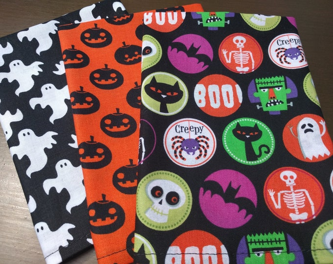 Halloween Napkin Set of 3 - Orange, Black and White Ghost, Pumpkins, Bats, Black Cats, Spiders, Skeletons & MORE!