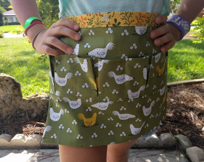Egg Apron One Size Kids - Farm Collecting Harvesting Multi Purpose Apron in Cute Farm Chicken Print with Coordinating Floral Back!