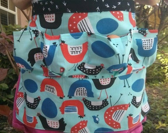 Egg Apron One Size Kids - Farm Collecting Harvesting Multi Purpose Apron in 2 Different Modern Chicken Prints with Chicken Footprints!