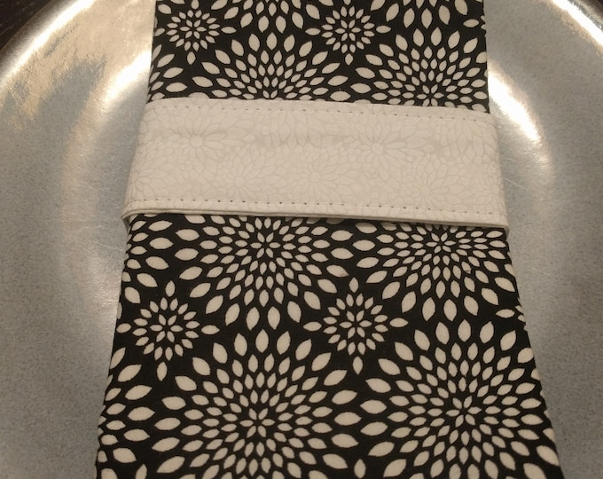 Featured listing image: Black and White Dinner Napkin Set of 4 - Reversible Cloth Washable Double Sided - Starburst Black & White Backed with White Floral