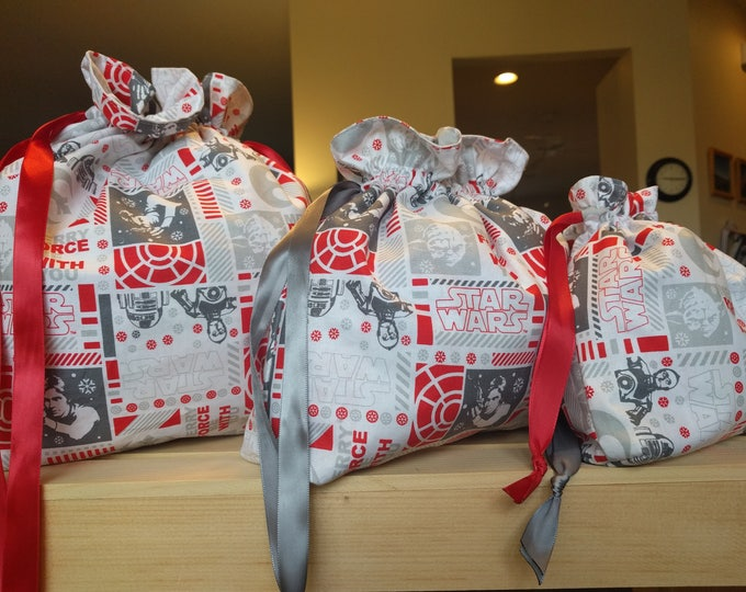 """Drawstring Cinch Gift Bags """"Merry Force be With You"""" Star Wars Christmas - 3 Sizes"""