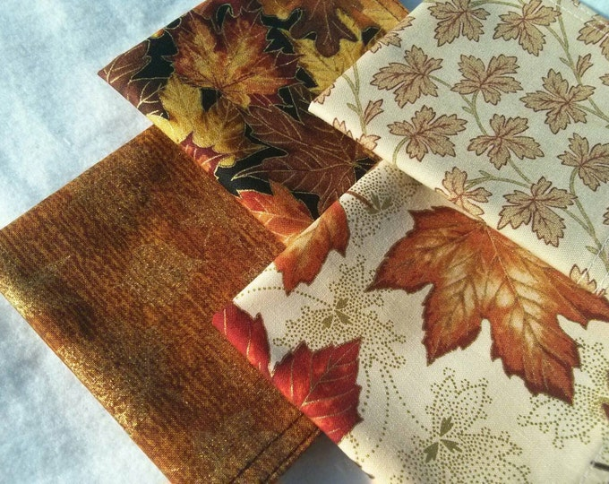 Fall Cocktail Napkin Set - Warm Rustic Fall Thanksgiving Cloth Reusable Washable Cotton (Leaves in Fall Hues)- Set of 4