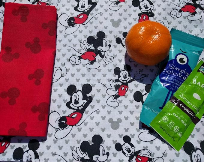 Disney Mickey Mouse Place Mat & Napkin Set - Reversible, Washable, Reusable