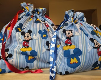 Drawstring Cinch Gift Bags Cloth Reusable Mickey Mouse Blue Stripes - 2 Sizes
