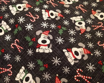 Christmas Holiday Drawstring Cinch Gift Bags Cloth Reusable Christmas Puppies Candy Canes - Many SIzes to Choose From!!