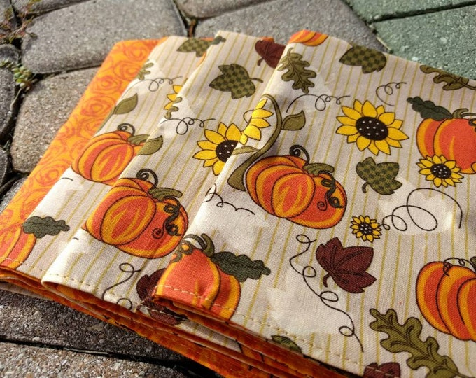 Fall Lunch Napkin Set - Rustic Fall Reversible Cloth Reusable Washable Cotton  (Pumpkins and Orange Swirl)- Set of 4