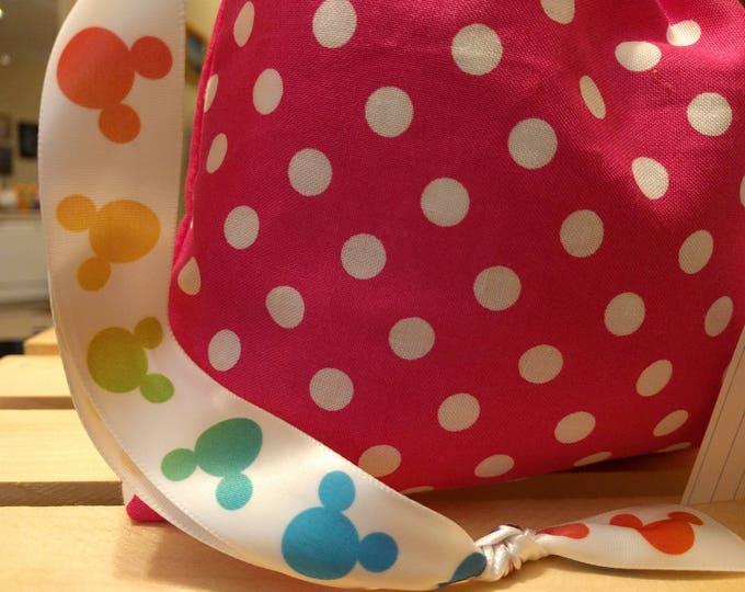 Cloth Reusable Gift Cinch Bag Pink with White Polka Dots - Disney Ears Ribbon!