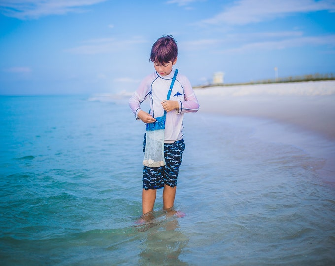 Featured listing image: Treasure Beach Shell Collecting Bag KIDS SIZE - Over the Shoulder Long Strap