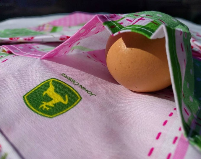 Egg & Treasure Apron One Size Kids - Farm Collecting Multi Purpose Apron in John Deere Pink Print with Floral Back!