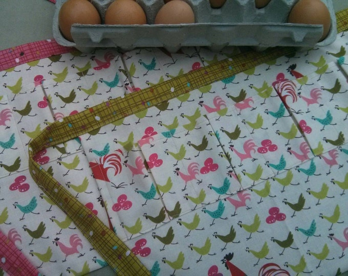 Egg Apron One Size Kids - Farm Collecting Harvesting Multi Purpose Apron in Modern Chicken Print with Choice of Pink or Green Eggs on Back!