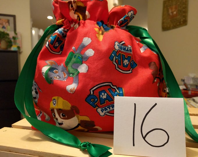 Cloth Reusable Gift Cinch Bag Paw Patrol Two Prints to Choose From!