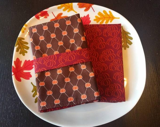 Fall Lunch Napkin Set - Rustic Fall Reversible Cloth Reusable Washable Cotton  (Burgundy, Orange & Brown Pumpkins)- Set of 4