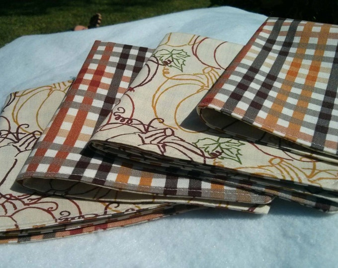 Cocktail Napkin Set - Fall Reversible Cloth Reusable Washable Cotton (Gorgeous Pumpkins and Plaid in Fall Hues)-Set of 4
