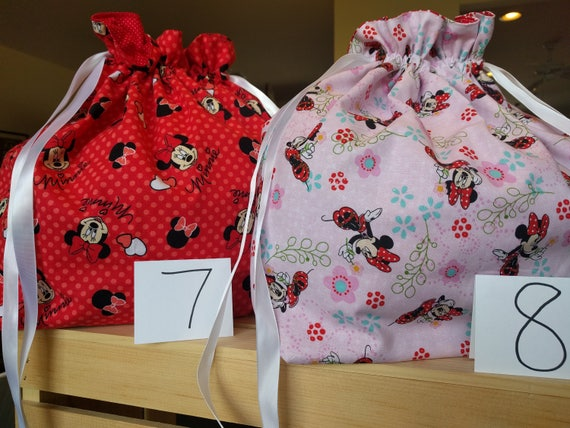 Drawstring Cinch Gift Bags Minnie Mouse Red & Pink Hearts - Both Large