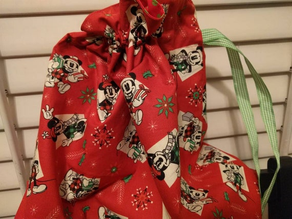 Drawstring Cinch Gift Bags Cloth Reusable Christmas Red Mickey Mouse Minnie Mouse