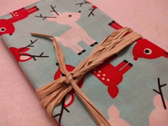 Modern Christmas Cloth Reusable Washable Cotton Lunch Box Napkins Choose Your Amount - Blue with Red Reindeer and Red Christmas Owls