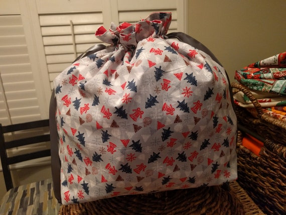 Christmas Holiday Fabric Drawstring Cinch Gift Bags - Christmas Trees and Bells on Gray Size Large!!