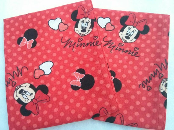 Valentine's Day Minnie Mouse Red Cloth Reusable Washable Cotton Napkin/Perfect for School Lunches or Home Use!