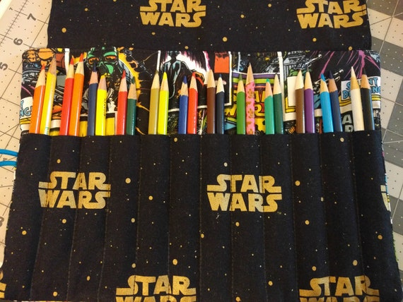Colored Pencil Holder (Holds Up To 24 Pack of Colored Pencils!)-100% Cotton Star Wars Prints!!!
