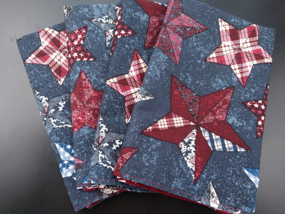 Reversible Independence Day July 4th Picnic Patchwork Stars and Patriotic Phrases Reusable Washable Cotton Napkins Set of 6