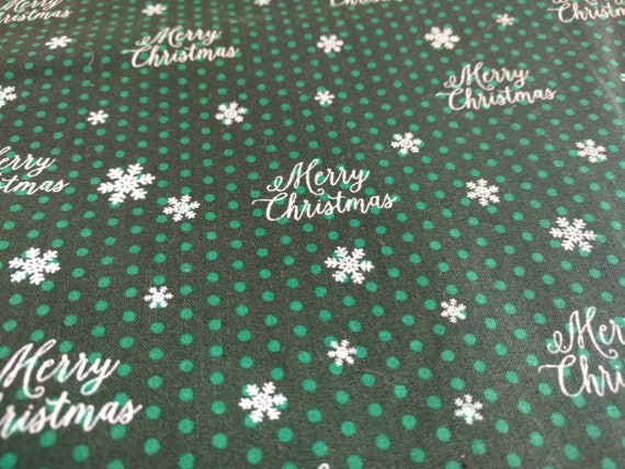 """Christmas Green Dinner Napkins (Silver & White) - """"Merry Christmas"""" 100 Percent Cotton Cloth Washable Single Sided - Set of 4"""