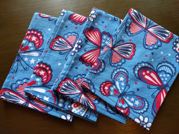 4th of July Independence Day Napkins - Red, White & Blue Butterflies (Washable, Reusable, 100% Cotton) Choose Your Amount!!!